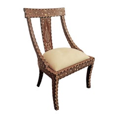 Bone-Inlaid Teak Chair from India, Late 20th Century