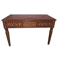 Bone-Inlaid Two-Drawer Teak Desk from India, 20th Century