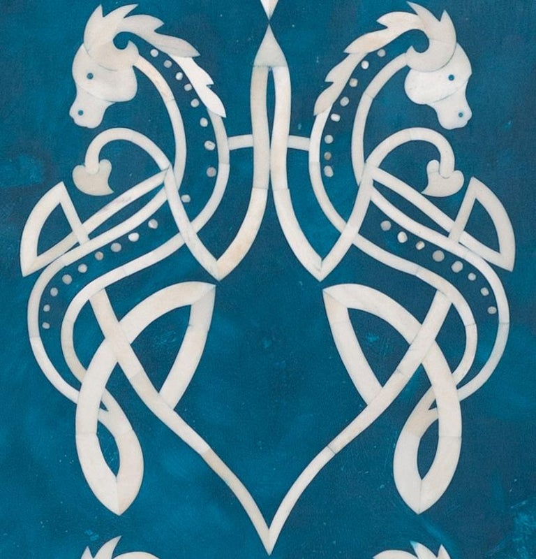 Art Nouveau Bone Inlaid Wall Art in Blue Resin with Celtic Dragon Pattern For Sale