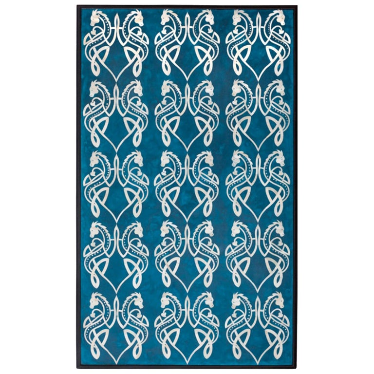 Bone Inlaid Wall Art in Blue Resin with Celtic Dragon Pattern For Sale