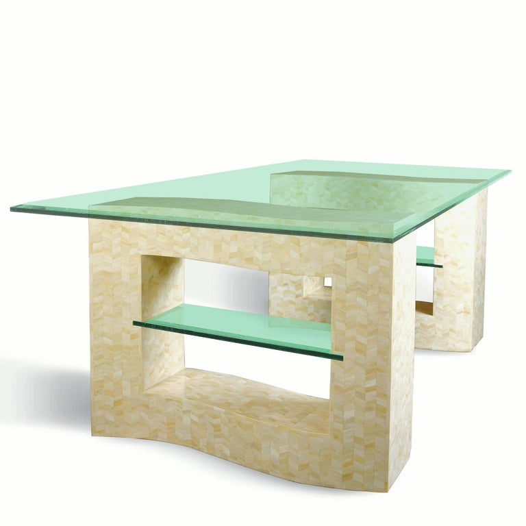 Marquetry Bone Tessellated Dining Table Base For Sale
