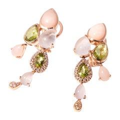 Bonebakker 18 Karat Rose Gold Earrings with Peridot, Pink Opal and Diamonds