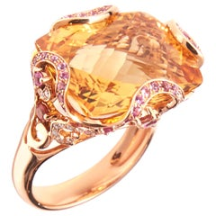 18 Karat Rose Gold Ring with Citrine Diamonds and Pink Sapphire
