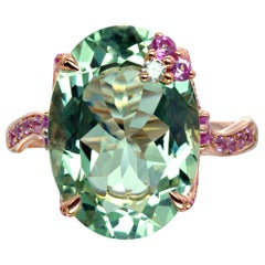 Bonebakker 18 Karat Rose Gold Ring with Green Amethyst Pink Sapphire and Diamond