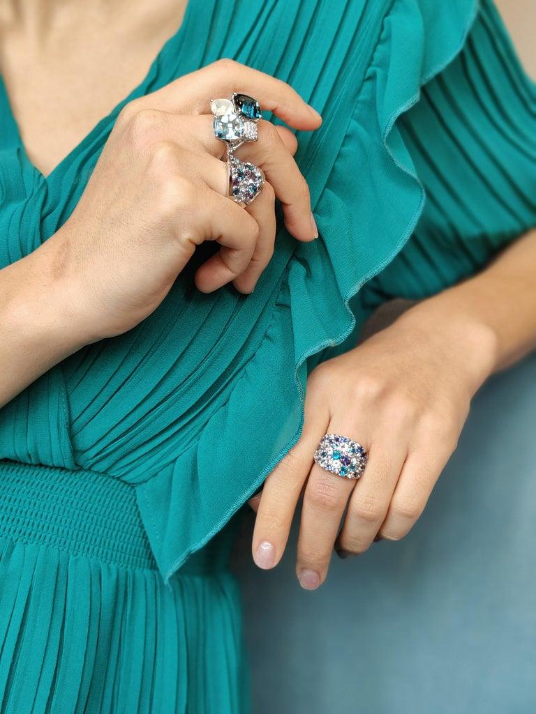 Round Cut Bonebakker 18 Karat White Gold Ring with Mixed Blue Gemstones and Diamonds For Sale