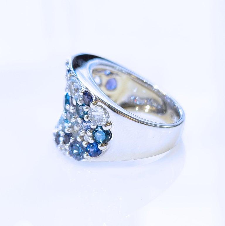 Women's Bonebakker 18 Karat White Gold Ring with Mixed Blue Gemstones and Diamonds For Sale