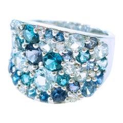 Bonebakker 18 Karat White Gold Ring with Mixed Blue Gemstones and Diamonds
