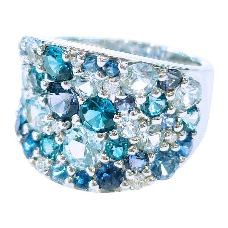 Bonebakker 18 Karat White Gold Ring with Mixed Blue Gemstones and Diamonds For Sale