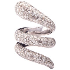 4.70 Carat Diamond White Gold Snake Ring