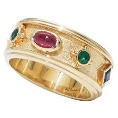 Bonebakker Dutch Royal Crown Band Ring 18 Karat Gold with Gemstones