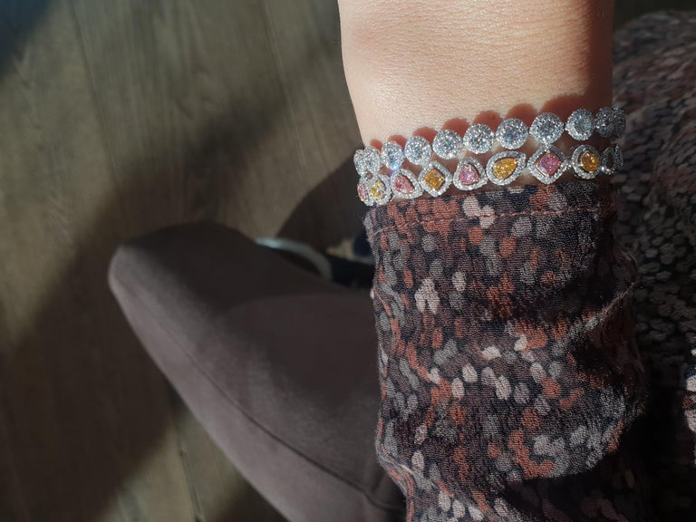 Fancy Colored Diamond Bracelet in 18 Karat White Gold For Sale 1