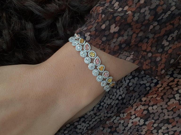 Fancy Colored Diamond Bracelet in 18 Karat White Gold For Sale 2