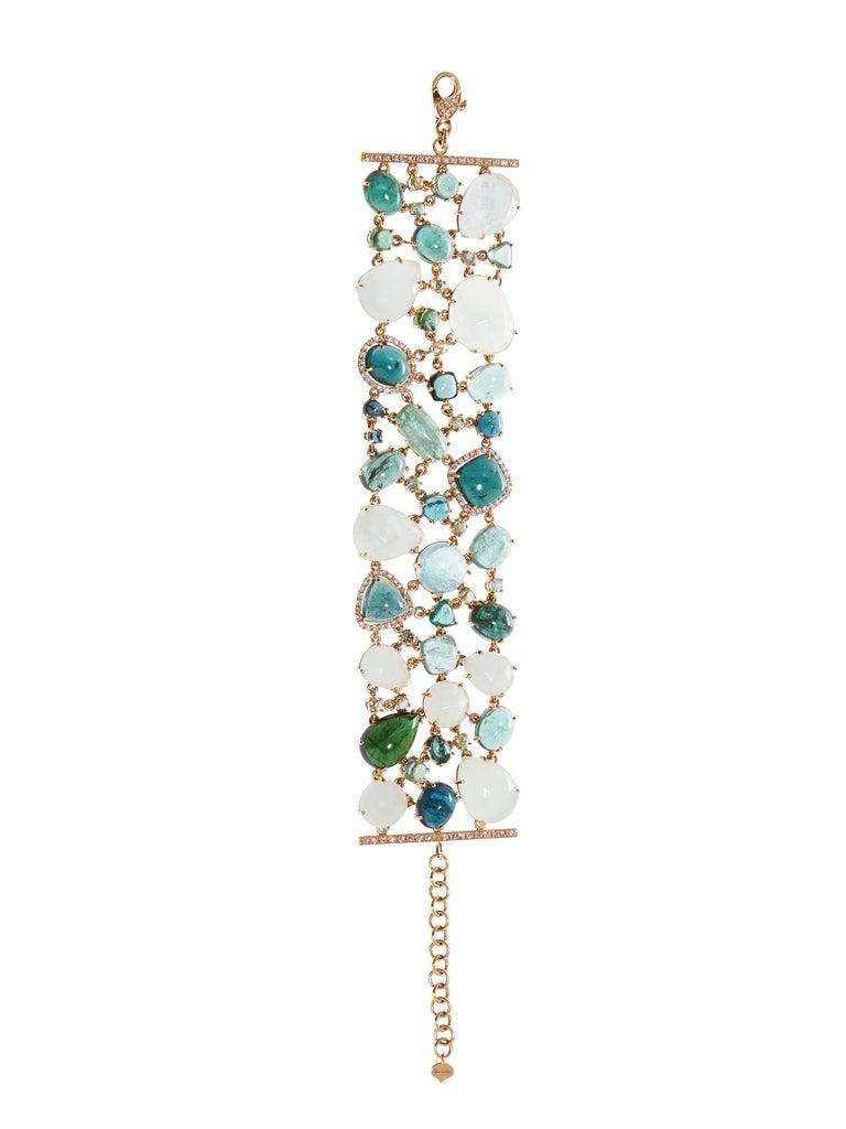 Multi-Shaped Aquamarine, Tourmaline and Diamond Cobblestone Bracelet In New Condition For Sale In Amsterdam, NL