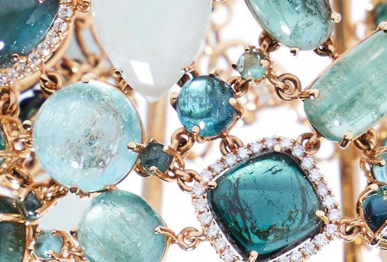 Women's Multi-Shaped Aquamarine, Tourmaline and Diamond Cobblestone Bracelet For Sale