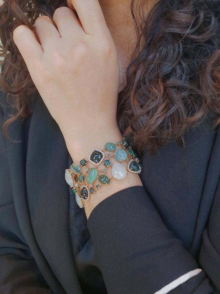 Multi-Shaped Aquamarine, Tourmaline and Diamond Cobblestone Bracelet For Sale 1