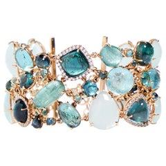 Multi-Shaped Aquamarine, Tourmaline and Diamond Cobblestone Bracelet