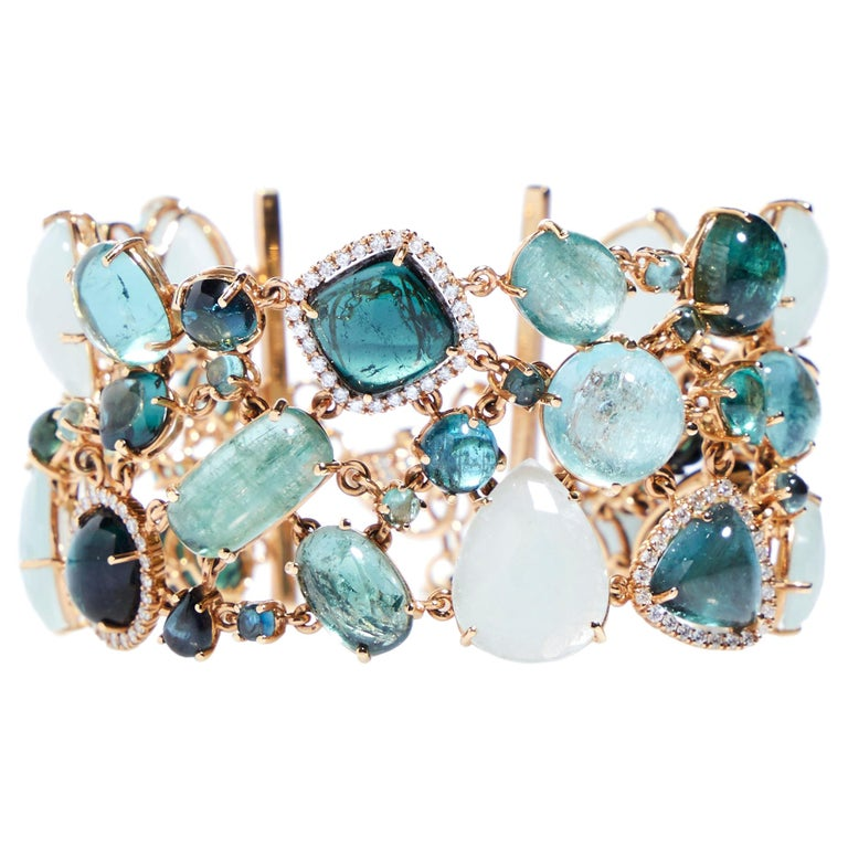 Multi-Shaped Aquamarine, Tourmaline and Diamond Cobblestone Bracelet For Sale