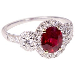 Ring with Oval 1.40 Carat Untreated Mogok Ruby 3-Stone Halo Ring