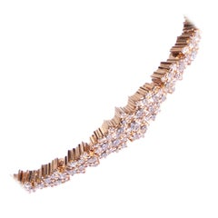 Rose Gold Bracelet with White and Champagne Diamonds