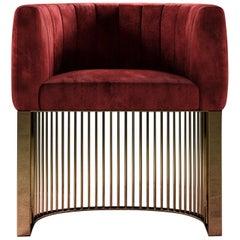 Bonheur Chair Red Velvet Polished Brass Base