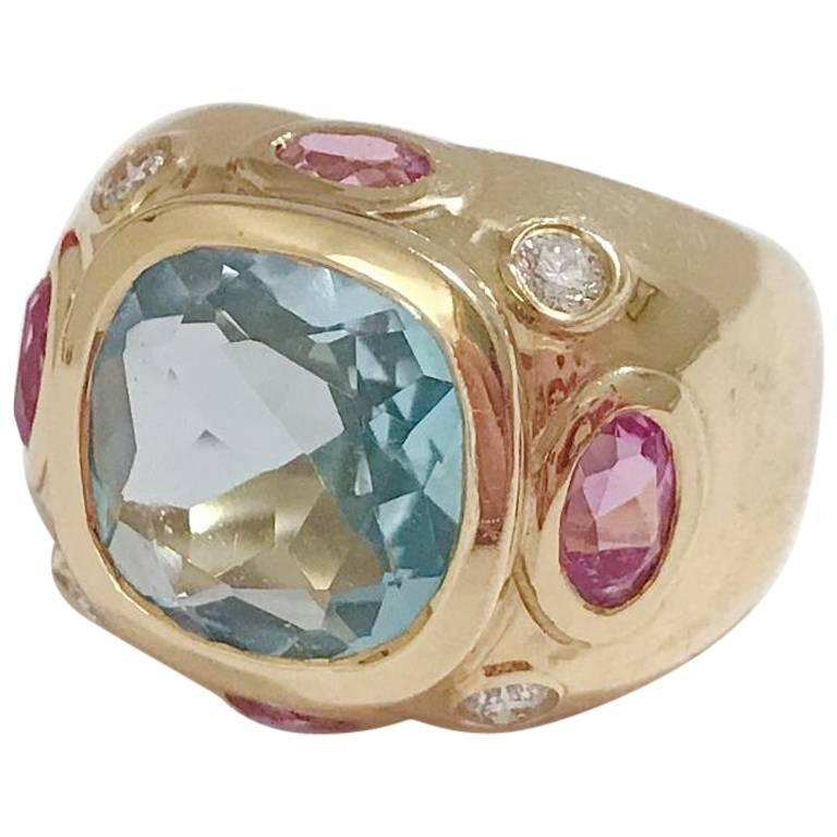 Bonheur Ring, Lemon Citrine and Pink Topaz and Diamond Yellow Gold Domed Ring For Sale 8