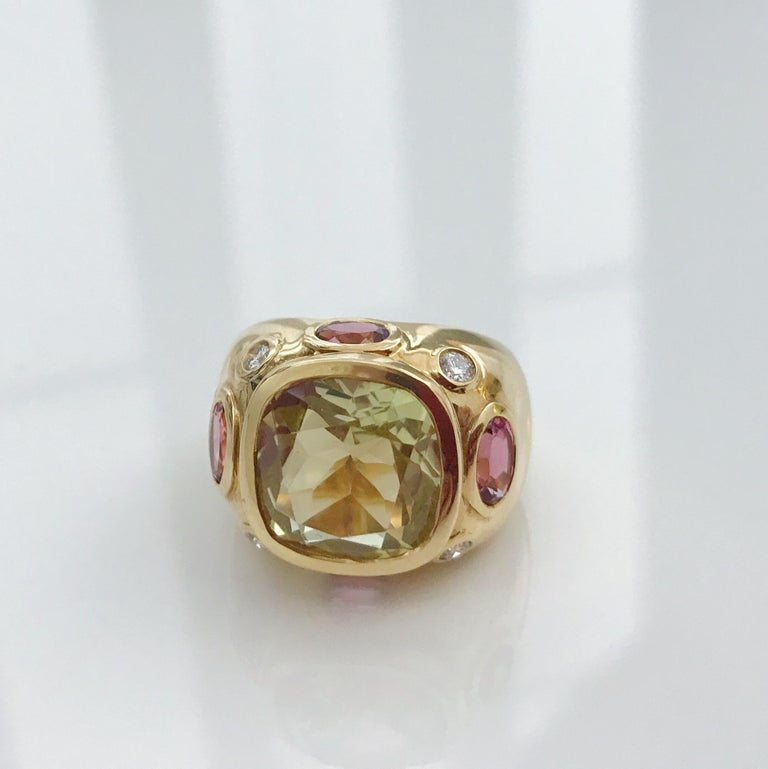 Bonheur Ring, Lemon Citrine and Pink Topaz and Diamond Yellow Gold Domed Ring In New Condition For Sale In New York, NY