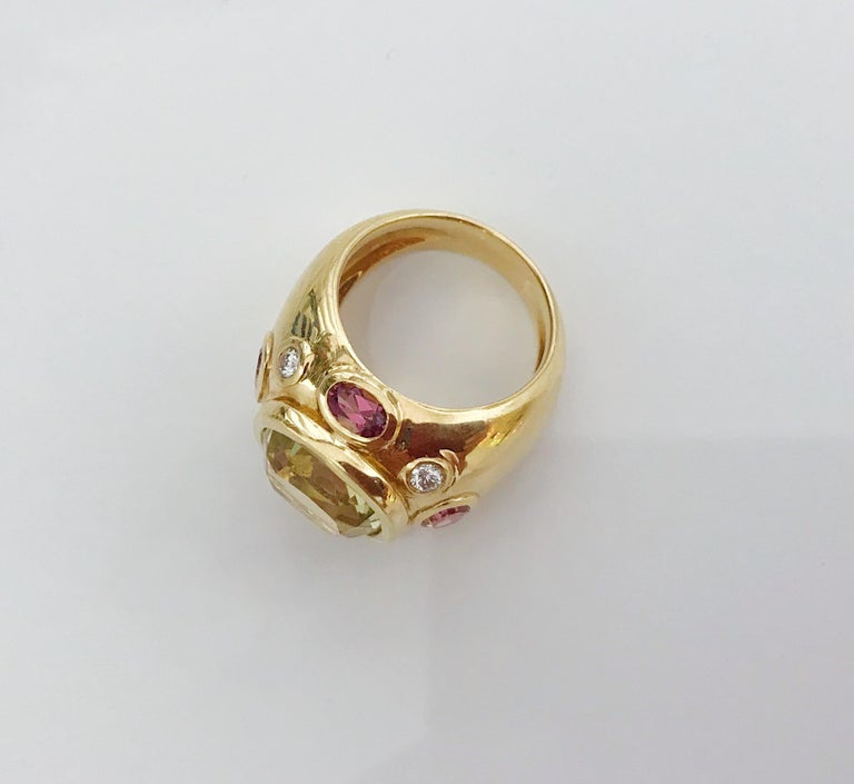 Bonheur Ring, Lemon Citrine and Pink Topaz and Diamond Yellow Gold Domed Ring For Sale 1