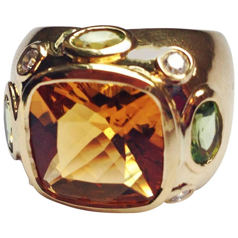 Bonheur Ring, Lemon Citrine and Pink Topaz and Diamond Yellow Gold Domed Ring For Sale 6