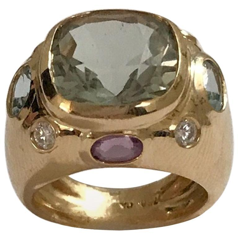 Bonheur Ring, Lemon Citrine and Pink Topaz and Diamond Yellow Gold Domed Ring For Sale 7