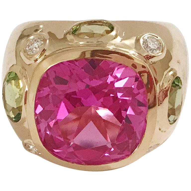 Bonheur Ring, Lemon Citrine and Pink Topaz and Diamond Yellow Gold Domed Ring For Sale 2