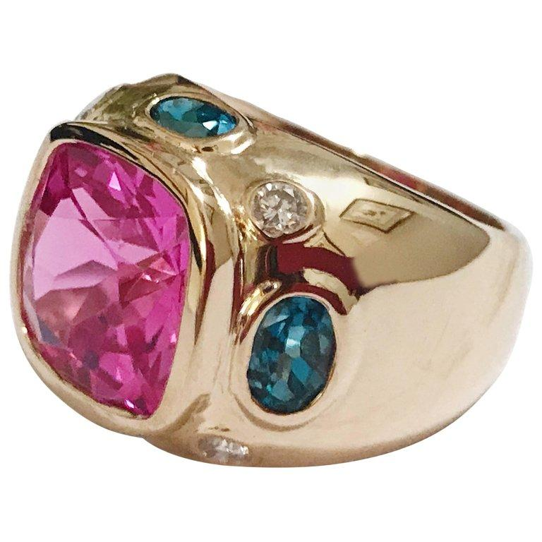 Bonheur Ring, Lemon Citrine and Pink Topaz and Diamond Yellow Gold Domed Ring For Sale 5
