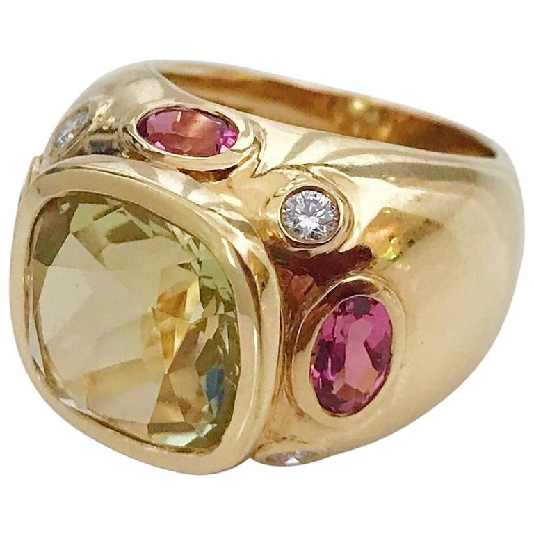 Bonheur Ring, Lemon Citrine and Pink Topaz and Diamond Yellow Gold Domed Ring For Sale