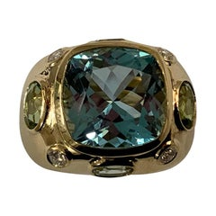 Bonheur Ring, Light Blue Topaz, Peridot, Blue Topaz and Diamond Domed Ring