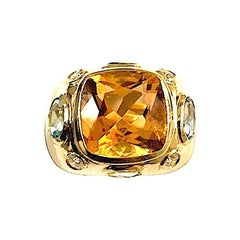 Bonheur Ring with Citrine, Peridot, Blue Topaz and Diamond Domed Ring