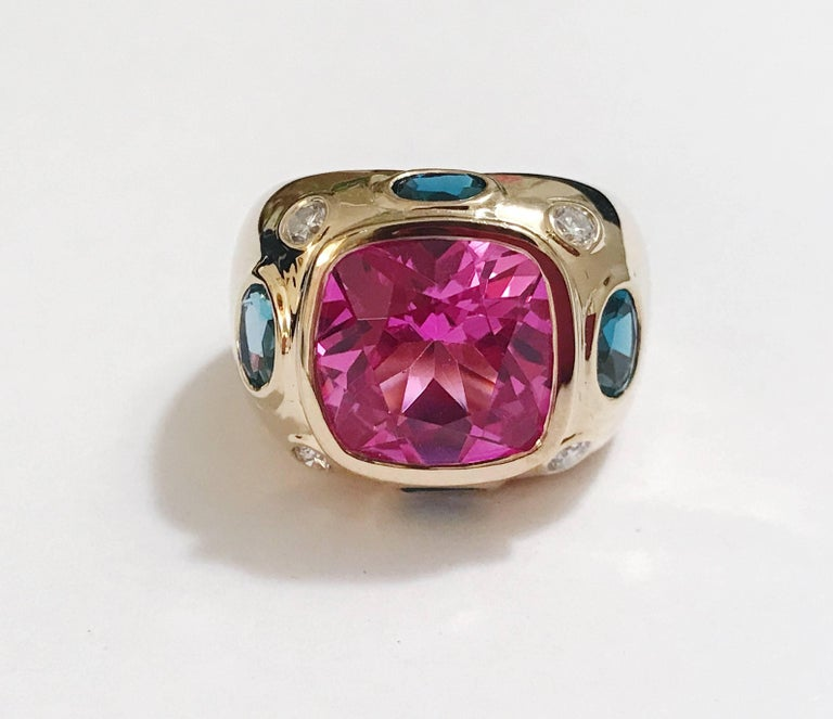 Modern Bonheur Ring, Pink Topaz and Blue Topaz and Diamond Yellow Gold Domed Ring For Sale