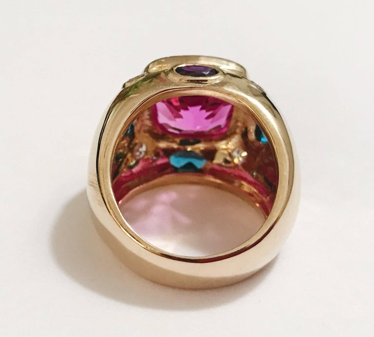 Cushion Cut Bonheur Ring, Pink Topaz and Blue Topaz and Diamond Yellow Gold Domed Ring For Sale