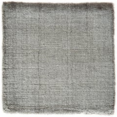 Silver Gray Bamboo Silk Hand-Loomed Rug in a Neutral Tonal Color and 8'x10' size