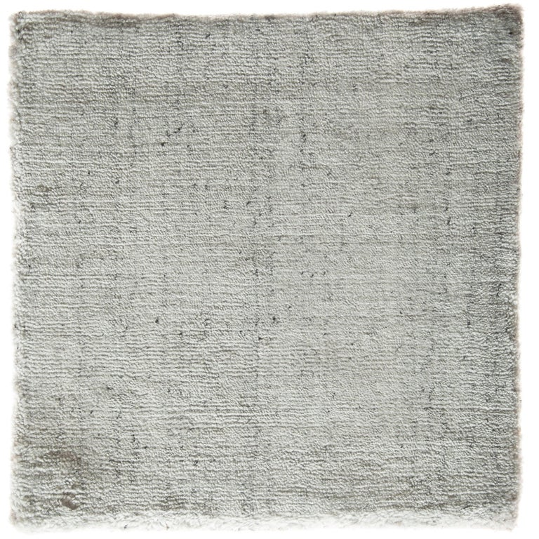 Solid White Rug with Slate Specks Made by Hand-Loom with Bamboo Silk For Sale