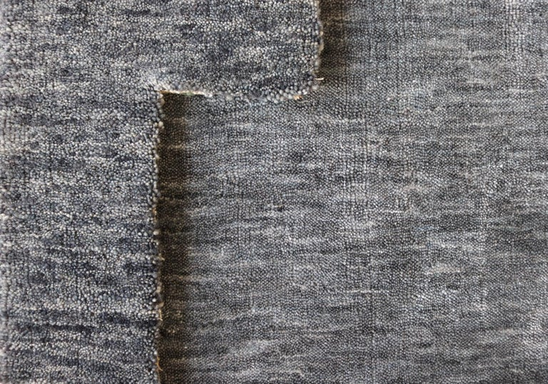 Industrial Solid Blue/Grey Rug, Hand-Loomed, Bamboo Silk, Bonn 'Belfast - Blue Grey' For Sale