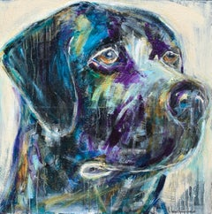 Ace by Bonnie B. Cooke Contemporary Oil on Canvas Dog Painting