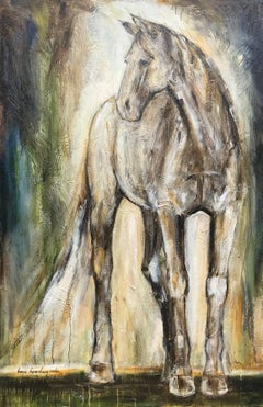 Acorn, Vertical Figurative Mixed Media on Canvas Horse Painting