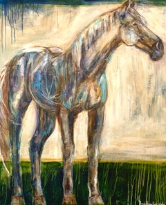 Aristotle by Bonnie B. Cooke Large Contemporary Canvas Horse Painting
