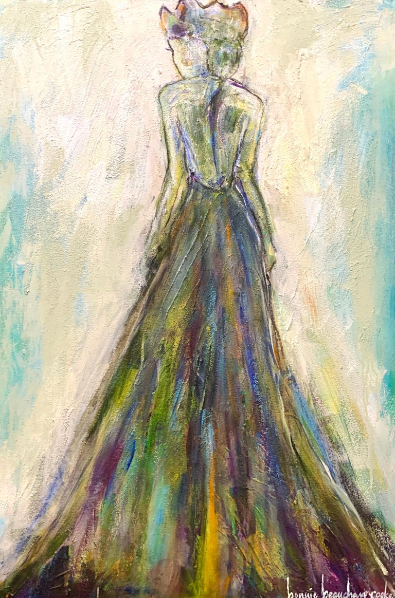 This figure by American artist Bonnie Beauchamp-Cooke has rich texture and depth with a color palette of green, pink, blue, white and neutrals.  This is an elegant rendering of a woman with long dress on, facing the other direction with her head