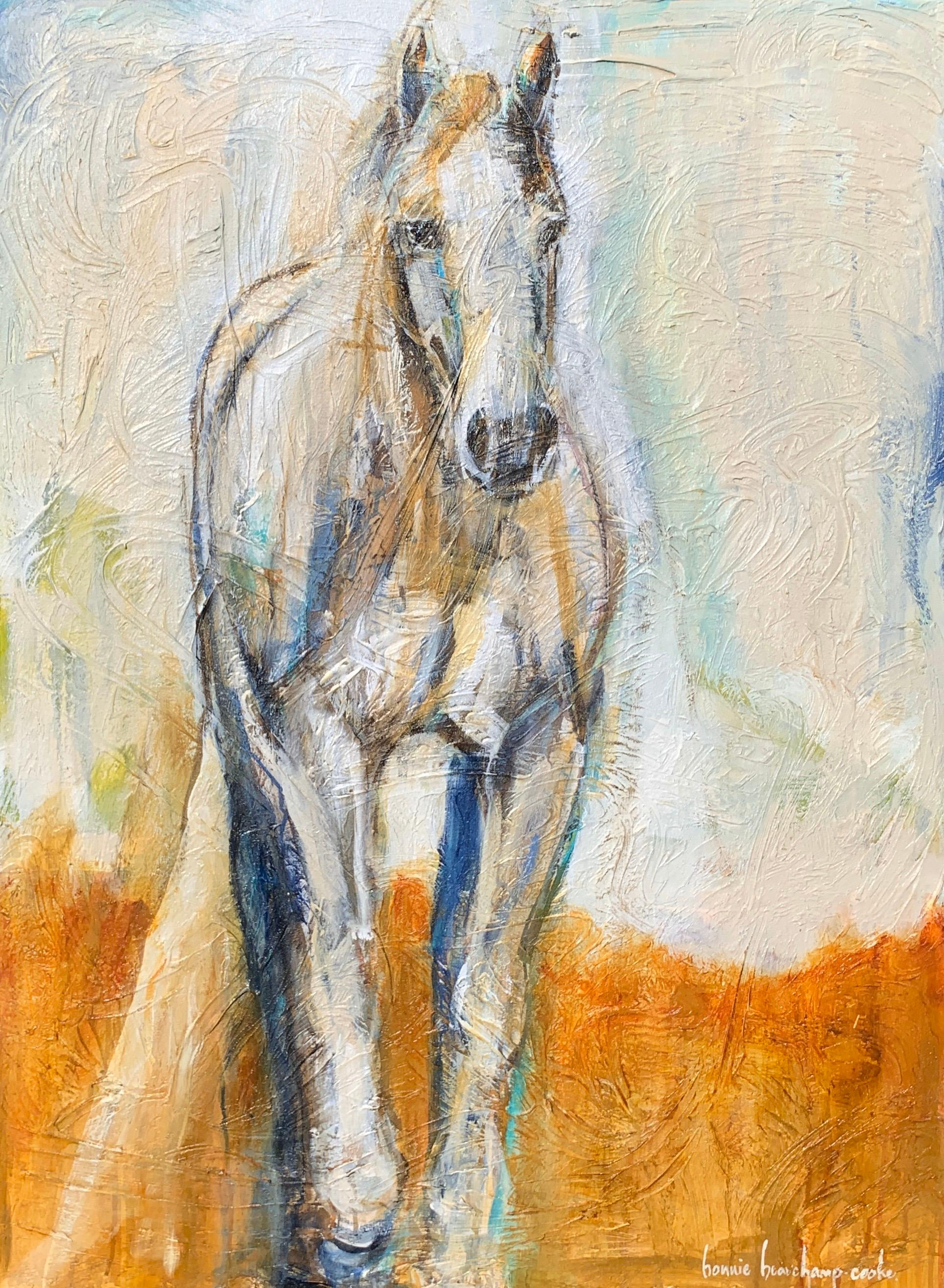 Bonnie Beauchamp Cooke Elle Large Contemporary Mixed Media On Canvas Horse Painting For Sale At 1stdibs