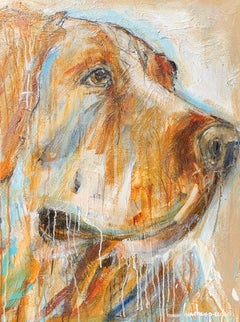 Goldie, Contemporary Vertical Format Mixed Media on Canvas Dog Painting