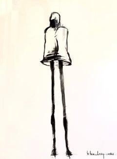 La Dame de Fer III by Bonnie B. Cooke, Framed Figurative Charcoal Drawing