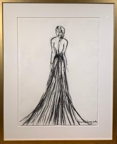 Lady in Charcoal II by Bonnie B. Cooke, Framed Figurative Charcoal Drawing