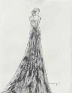 Lady in Graphite I, Vertical Figurative Drawing on Paper