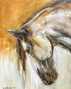 Lucy by Bonnie Beauchamp-Cooke, Large Mixed Media on Canvas Horse Painting