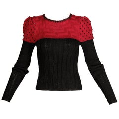 Bonnie Case Vintage Beaded Sweater Top